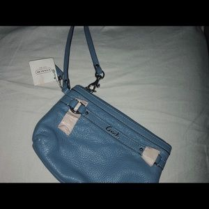 blue coach mini hand bag